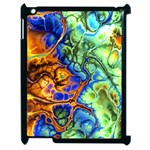 Abstract Fractal Batik Art Green Blue Brown Apple iPad 2 Case (Black)