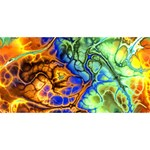 Abstract Fractal Batik Art Green Blue Brown Twin Hearts 3D Greeting Card (8x4) Front