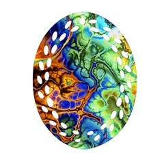 Abstract Fractal Batik Art Green Blue Brown Oval Filigree Ornament (2 Side)