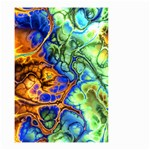 Abstract Fractal Batik Art Green Blue Brown Small Garden Flag (Two Sides)