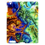 Abstract Fractal Batik Art Green Blue Brown Apple iPad 3/4 Hardshell Case