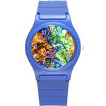 Abstract Fractal Batik Art Green Blue Brown Round Plastic Sport Watch (S)