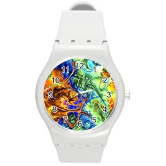 Abstract Fractal Batik Art Green Blue Brown Round Plastic Sport Watch (m) by EDDArt