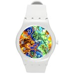 Abstract Fractal Batik Art Green Blue Brown Round Plastic Sport Watch (M)