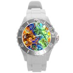 Abstract Fractal Batik Art Green Blue Brown Round Plastic Sport Watch (L)