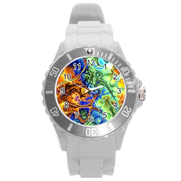 Abstract Fractal Batik Art Green Blue Brown Round Plastic Sport Watch (L)