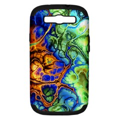 Abstract Fractal Batik Art Green Blue Brown Samsung Galaxy S Iii Hardshell Case (pc+silicone) by EDDArt