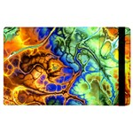 Abstract Fractal Batik Art Green Blue Brown Apple iPad 2 Flip Case