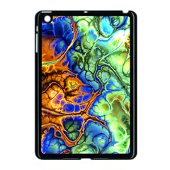Abstract Fractal Batik Art Green Blue Brown Apple Ipad Mini Case (black) by EDDArt