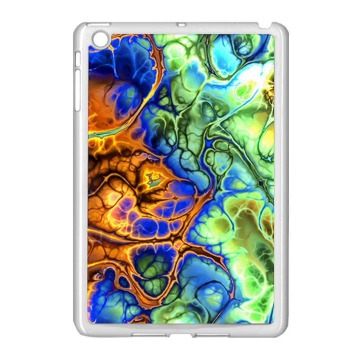 Abstract Fractal Batik Art Green Blue Brown Apple iPad Mini Case (White)