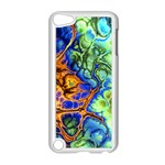 Abstract Fractal Batik Art Green Blue Brown Apple iPod Touch 5 Case (White)