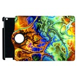 Abstract Fractal Batik Art Green Blue Brown Apple iPad 2 Flip 360 Case