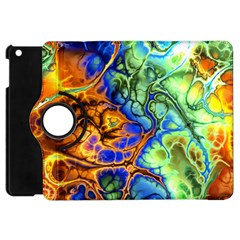 Abstract Fractal Batik Art Green Blue Brown Apple Ipad Mini Flip 360 Case by EDDArt