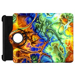 Abstract Fractal Batik Art Green Blue Brown Kindle Fire Hd Flip 360 Case by EDDArt