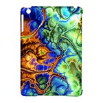 Abstract Fractal Batik Art Green Blue Brown Apple iPad Mini Hardshell Case (Compatible with Smart Cover)