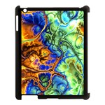 Abstract Fractal Batik Art Green Blue Brown Apple iPad 3/4 Case (Black)