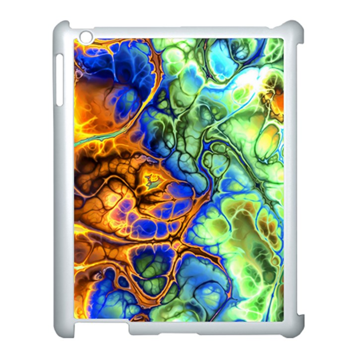 Abstract Fractal Batik Art Green Blue Brown Apple iPad 3/4 Case (White)
