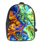 Abstract Fractal Batik Art Green Blue Brown School Bags (XL)  Front