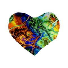 Abstract Fractal Batik Art Green Blue Brown Standard 16  Premium Heart Shape Cushions by EDDArt