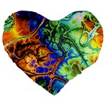 Abstract Fractal Batik Art Green Blue Brown Large 19  Premium Heart Shape Cushions