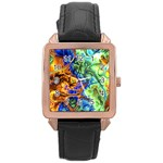 Abstract Fractal Batik Art Green Blue Brown Rose Gold Leather Watch
