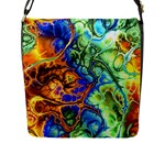 Abstract Fractal Batik Art Green Blue Brown Flap Messenger Bag (L)