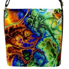 Abstract Fractal Batik Art Green Blue Brown Flap Messenger Bag (s) by EDDArt