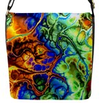 Abstract Fractal Batik Art Green Blue Brown Flap Messenger Bag (S)