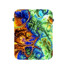Abstract Fractal Batik Art Green Blue Brown Apple Ipad 2/3/4 Protective Soft Cases by EDDArt