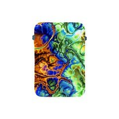 Abstract Fractal Batik Art Green Blue Brown Apple Ipad Mini Protective Soft Cases by EDDArt