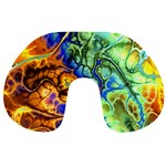 Abstract Fractal Batik Art Green Blue Brown Travel Neck Pillows