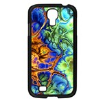 Abstract Fractal Batik Art Green Blue Brown Samsung Galaxy S4 I9500/ I9505 Case (Black)