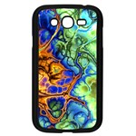Abstract Fractal Batik Art Green Blue Brown Samsung Galaxy Grand DUOS I9082 Case (Black)