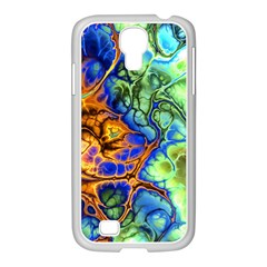 Abstract Fractal Batik Art Green Blue Brown Samsung Galaxy S4 I9500/ I9505 Case (white) by EDDArt