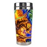 Abstract Fractal Batik Art Green Blue Brown Stainless Steel Travel Tumblers