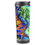 Abstract Fractal Batik Art Green Blue Brown Travel Tumbler Center