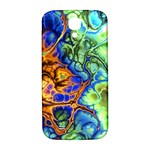 Abstract Fractal Batik Art Green Blue Brown Samsung Galaxy S4 I9500/I9505  Hardshell Back Case