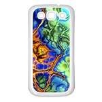 Abstract Fractal Batik Art Green Blue Brown Samsung Galaxy S3 Back Case (White)