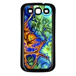 Abstract Fractal Batik Art Green Blue Brown Samsung Galaxy S3 Back Case (Black)