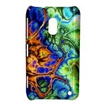 Abstract Fractal Batik Art Green Blue Brown Nokia Lumia 620