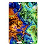 Abstract Fractal Batik Art Green Blue Brown Amazon Kindle Fire HD (2013) Hardshell Case