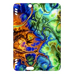 Abstract Fractal Batik Art Green Blue Brown Kindle Fire Hdx Hardshell Case by EDDArt