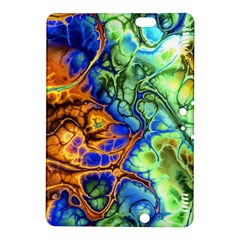 Abstract Fractal Batik Art Green Blue Brown Kindle Fire Hdx 8 9  Hardshell Case by EDDArt