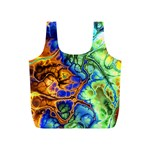 Abstract Fractal Batik Art Green Blue Brown Full Print Recycle Bags (S)
