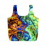 Abstract Fractal Batik Art Green Blue Brown Full Print Recycle Bags (M)