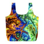 Abstract Fractal Batik Art Green Blue Brown Full Print Recycle Bags (L)  Back