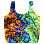 Abstract Fractal Batik Art Green Blue Brown Full Print Recycle Bags (L)