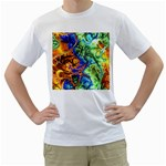 Abstract Fractal Batik Art Green Blue Brown Men s T-Shirt (White)