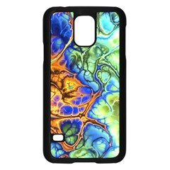 Abstract Fractal Batik Art Green Blue Brown Samsung Galaxy S5 Case (black) by EDDArt