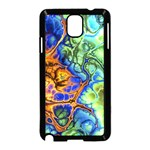 Abstract Fractal Batik Art Green Blue Brown Samsung Galaxy Note 3 Neo Hardshell Case (Black) Front